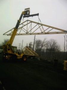 Boonton Restoration Shop Roof Member Staging